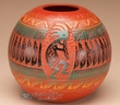 "American Indian Navajo Etched Vase 5""  -Kokopelli  (p332)"