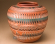 "American Indian Navajo Pottery Vase 8.75""  -Hand Etched  (p236)"