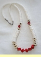 "Native American Necklace - 22"" White Shell & Red Coral"
