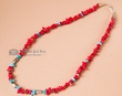 "Native American Necklace -20"" Turquoise &  Coral (16)"