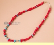 "American Indian Necklace -20"" Turquoise &  Coral (16)"