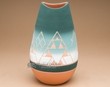 "American Indian Lakota Etched Bullet Vase 10"" -Sioux  (p617)"