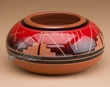 "Sioux Indian Planter Vase 6.25""x3"" -Glazed Lakota Red  (287)"