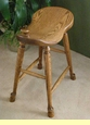 Amish Made Western Saddle Oak Stool 23""