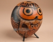 "Andean Indian Hand Carved Gourd Southwest Owl 6""  (1a)"