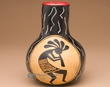 "Andean Indian Hand Carved Gourd Vase 6.25"" -Kokopelli  (2)"