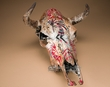 Antiqued Hand Painted Steer Skull 15x19.5-Kokopelli  (ps88)