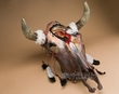 Antiqued Hand Painted Steer Skull 18x22 -Medicine Man  (s66)