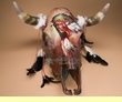 Antiqued Hand Painted Steer Skull 20x21 -Medicine Man  (s66)