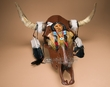 Antiqued Hand Painted Steer Skull 22.5x21.5 -Indian  (s65)