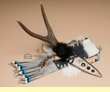 "Antler Handled Knife & Sheath 12""  (k43)"