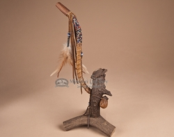 "Authentic Apache Indian Beaded Antler Pipe 13""  (31)"