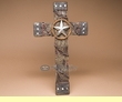 "Rustic Western Barnwood & Barbed Wire Cross 19""  (c20)"