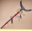 "Beaded Native American Steer Horn Staff 40"" -Tigua"
