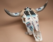 Beaded Southwest Painted Steer Skull 25x22  (69)