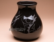 "Black On Black Navajo Pottery Vase 9""  (p360)"