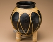"Black Tarahumara Indian Pottery Vase 10""  (ra4)"