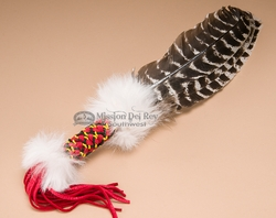 Braided Handle Beaded Cherokee Prayer Fan 16""