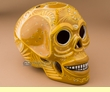 "Ceramic Day Of The Dead Skull 6.5"" -Gold  (s8)"