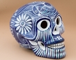 "Ceramic Day Of The Dead Skull 6.5""  (s8)"