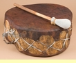 "Rawhide Ceremonial Log Drum 16""x7""  (cd206)"