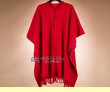 Classic Southwestern Wool Cape -Red  (p19)