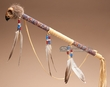 "Creek Indian Spirit Medicine Stick 20"" -Hawk Skull  (m102)"