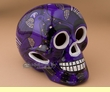 "Day Of The Dead Skull 6.5"" -Purple  (s9)"