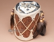 "Decorative Painted Log Drum 8"" -Wolf  (pd24)"