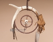 "Deer Skin Medicine Bag -Antler Dream Catcher 6""  (dc6-8)"