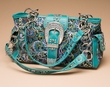 Designer Western Embroidered Purse -Turquoise  (p410)