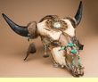 Distressed Hand Painted Buffalo Skull 27.5x25 -Creek  (ps79)