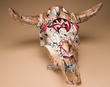 Distressed Hand Painted Steer Skull  -Fetish Bear  (ps82)