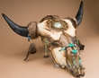 Native American Buffalo Skull 27.5x25 -Creek  (ps85)