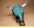Genuine Turquoise Overlayed Steer Skull 16x18.5  (s75)