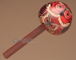 "Hand Carved Andean Indian Gourd Rattle 6.5"" -Red Owl  (r3)"