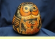 Hand Carved Andean Indian Gourd Rattle -Gold Owl  (r1)