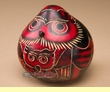Hand Carved Andean Indian Gourd Rattle -Red Owl  (r4)