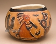 Hand Carved Andean Indian Gourd Vase -kokopelli  (1)