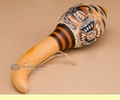 "Hand Etched Gourd Rattle 8"" -Andean Indian  (r63)"