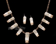 "Hand Carved Zuni Pueblo Antler Necklace & Earring Set 27"" -Owl  (ij433)"