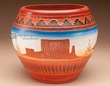 "Hand Etched Navajo Indian Clay Vase 6"" -Monument  (p206)"