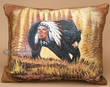 Hand Painted Cowhide Pillow -Native Bear  (25)