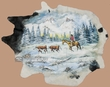 Hand Painted Cowhide Wall Hanging 85x70 -Snowy Valley  (46)