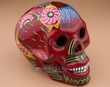 "Hand Painted Day Of The Dead Skull 6.5"" -Red  (s2)"