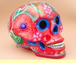 """Hand Painted Day Of The Dead Skull 6.5"""" -Red  (s2)"""