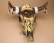 "Hand Painted Dreamcatcher Cow Skull 19""x20"" -Kokopelli  (ps90)"