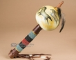 "Hand Painted Gourd Rattle 13"" -Horses  (72)"