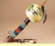 """Hand Painted Gourd Rattle 13"""" -Horses  (72)"""