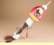 """Hand Painted Gourd Rattle 16"""" -Wolf  (73)"""